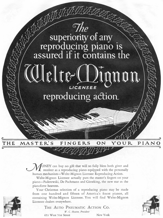 Advertisement for Welte-Mignon reproducing system